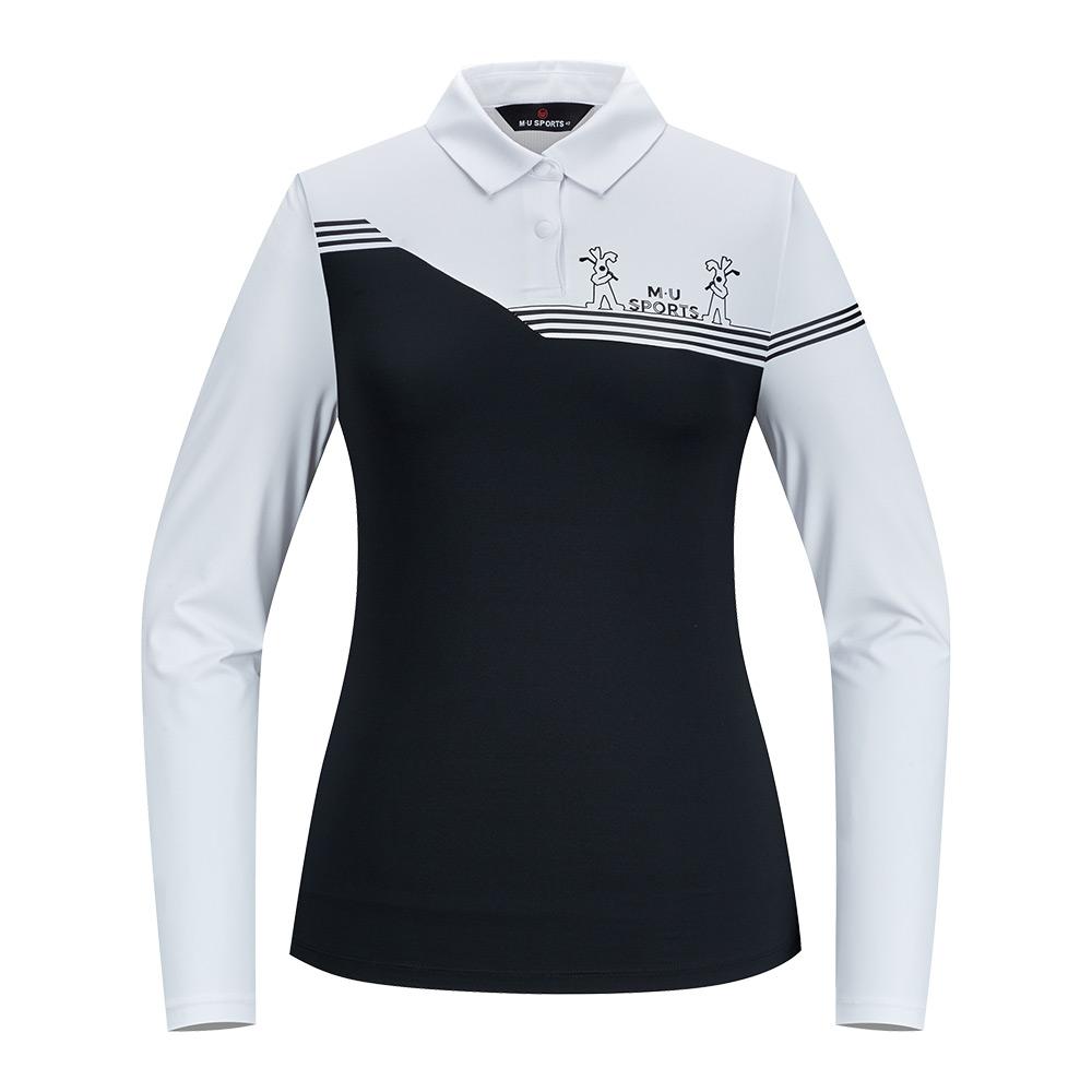 [엠유스포츠] 소매배색 제에리 티셔츠_블랙 MU20322TL03