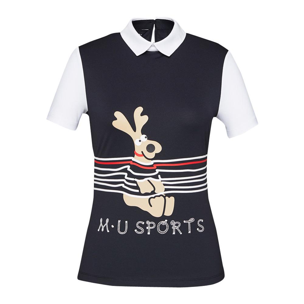 [엠유스포츠] 원포인트 매쉬 티셔츠_BLK MU20322TS08