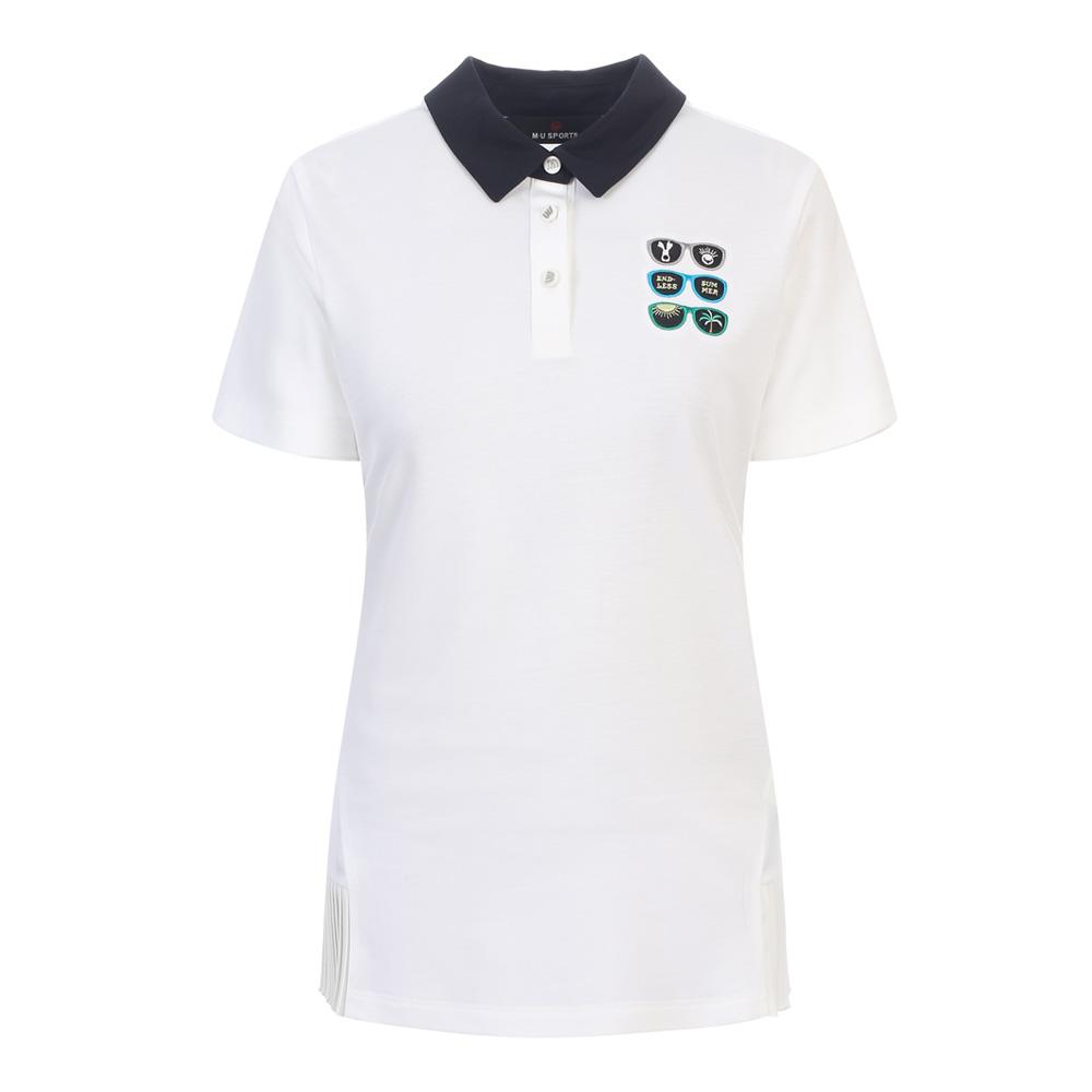 [엠유스포츠] 배색에리 버튼다운 티셔츠_WHT MU20322TS10