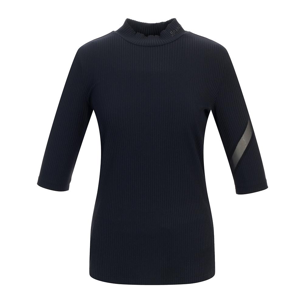 [스릭슨] 소매 MESH 배색 하이넥 티셔츠 SR21122TS57_BLK